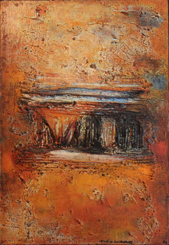 1958 Temple, technique mixte sur toile, 25M, 81 x 54 cm, (no 4758)