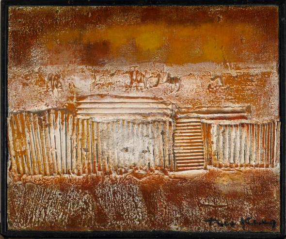 1959 Saupoudré de soleil, 1958-1959, œuvre tactiliste sur toile, 38 x 46 cm