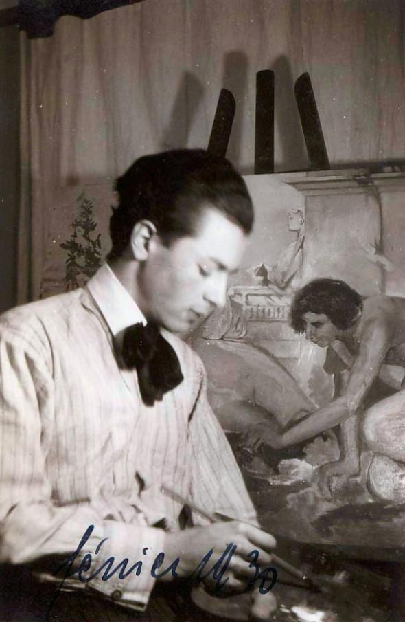 Théo Kerg en février 1930, en copiant le combat de coqs de Jean-Léon Gérôme (1824-1904)