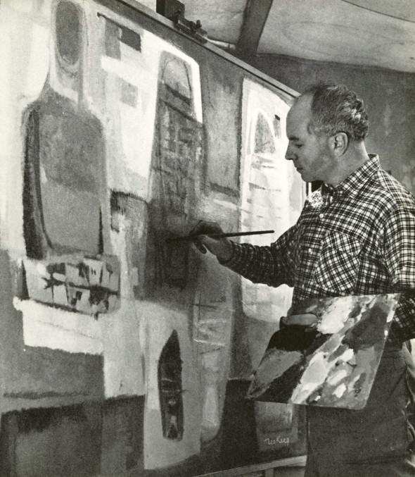 Theo Kerg dans son atelier, 1955