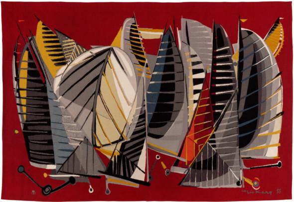 1955 La Mêlée, tapisserie, 172 x 250 cm, Edition Goubeley – Aubusson et Galerie Bellechasse. Collection Musée Dom Robert, Sorèze, Tarn