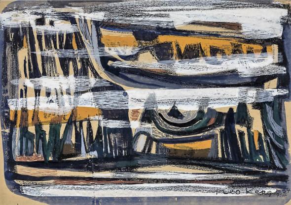 1954 Escarpement, gouache sur carton, (no 7554)