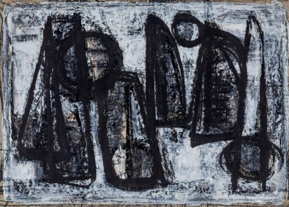 1955 Fond de scène pour- Three man in a boat- gouache sur carton, (41×39 cm)