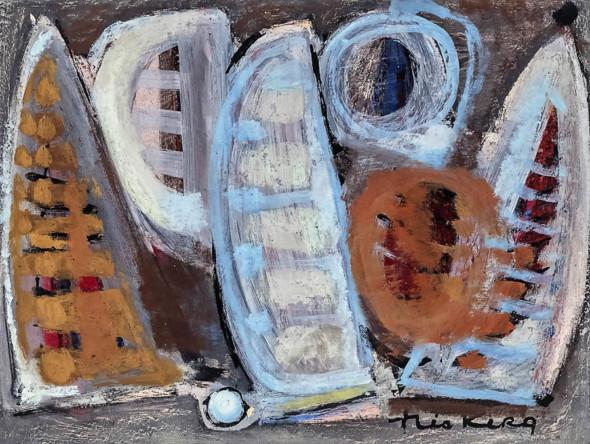 1955 Regate 2, gouache sur carton, 52,5×40,5 cm
