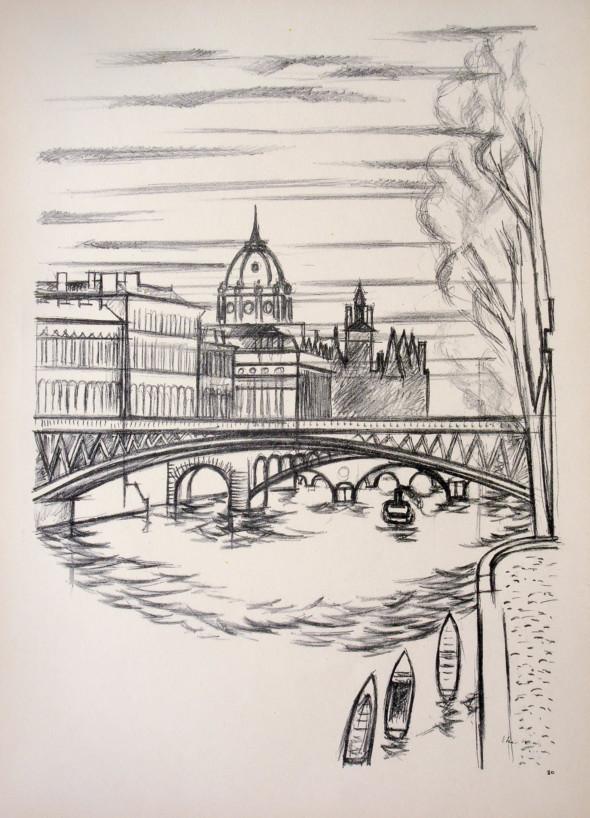 1947  Paris 10, Les cinq Ponts, litho, 10.11.1947