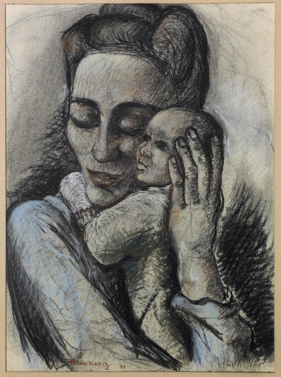 1941 Femme de Théo Kerg, Catherine Kerg-Vaccaroli, avec sa fille Vanna, dessin sur carton