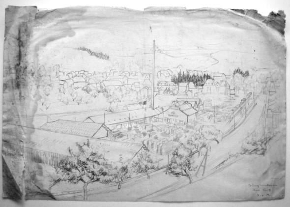 1942 Vue sur la scierie Clement à Junglinster, dessin préparatoire pour le tableau du même nom