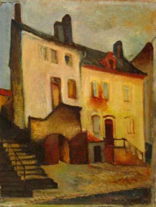 1943 Maisons à Remich, huile sur panneau, 35 x 43 cm