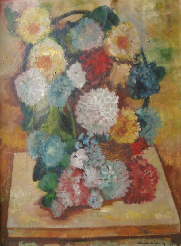 1944 Panier de fleurs, huile sur toile, 60 x 81 cm