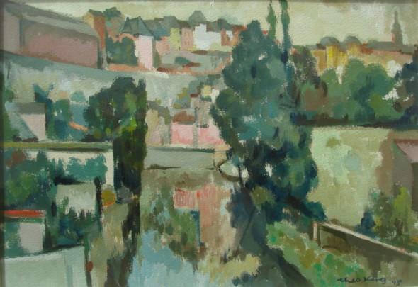 1945 Vue sur la vieille ville, gouache, 30 x 40 cm