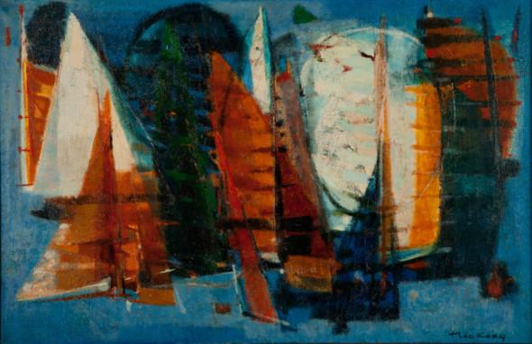1955 Mouvements multiples, huile sur toile, collection DePaul Art Museum Chicago