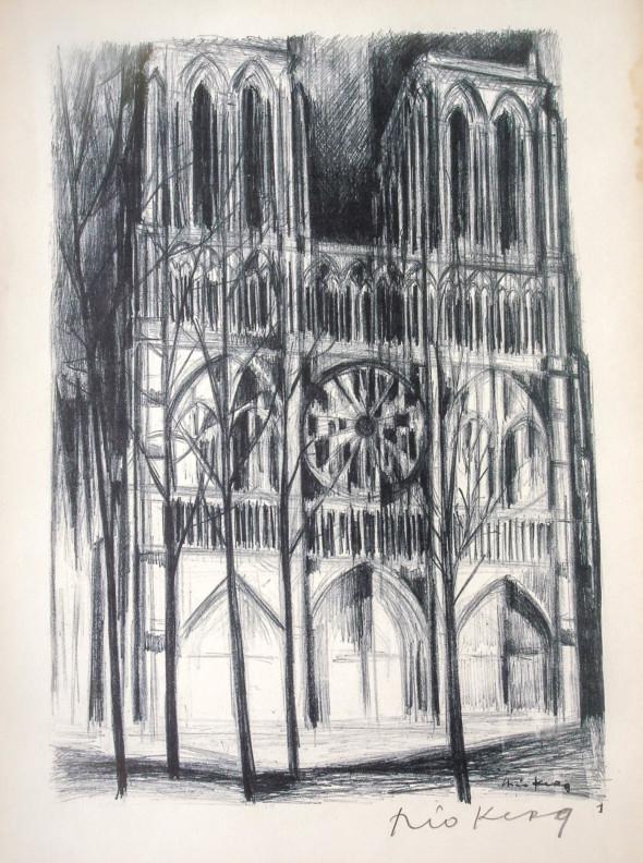 1947  Paris 01, Sur le parvis de Notre-Dame, litho, 10.11.1947
