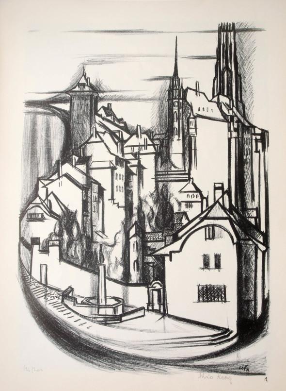 1947  Fribourg 01, Grande arabesque, litho, 1.10.1947