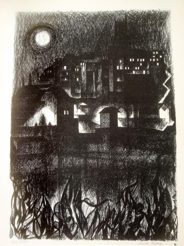 1947  Fribourg 04, Phosphorescence lunaire, litho, 1.10.1947