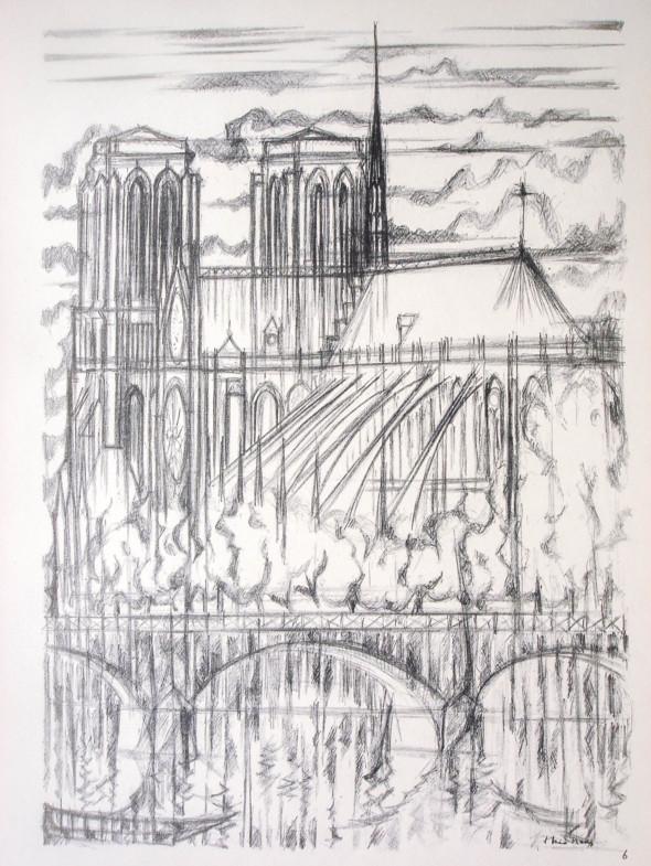 1947  Paris 06, Notre-Dame et le Pont de l'Archvêché, litho, 1.11.1947