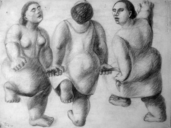 1940 Paysannes de la procession dansante d'Echternach, dessin sur carton