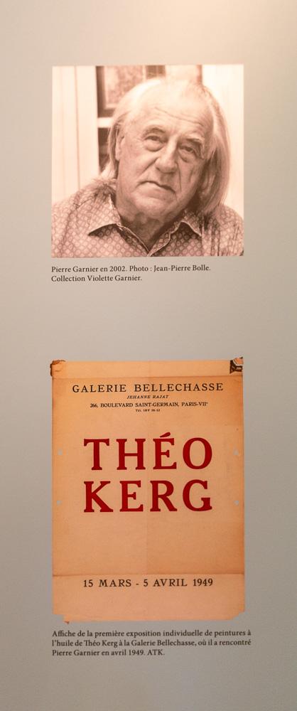 30 – Pierre Garnier en 2002 (Photo: Jean-Pierre Bolle) et l'affiche de la première exposition individuelle de peintures à l'huile de Théo Kerg (1949)